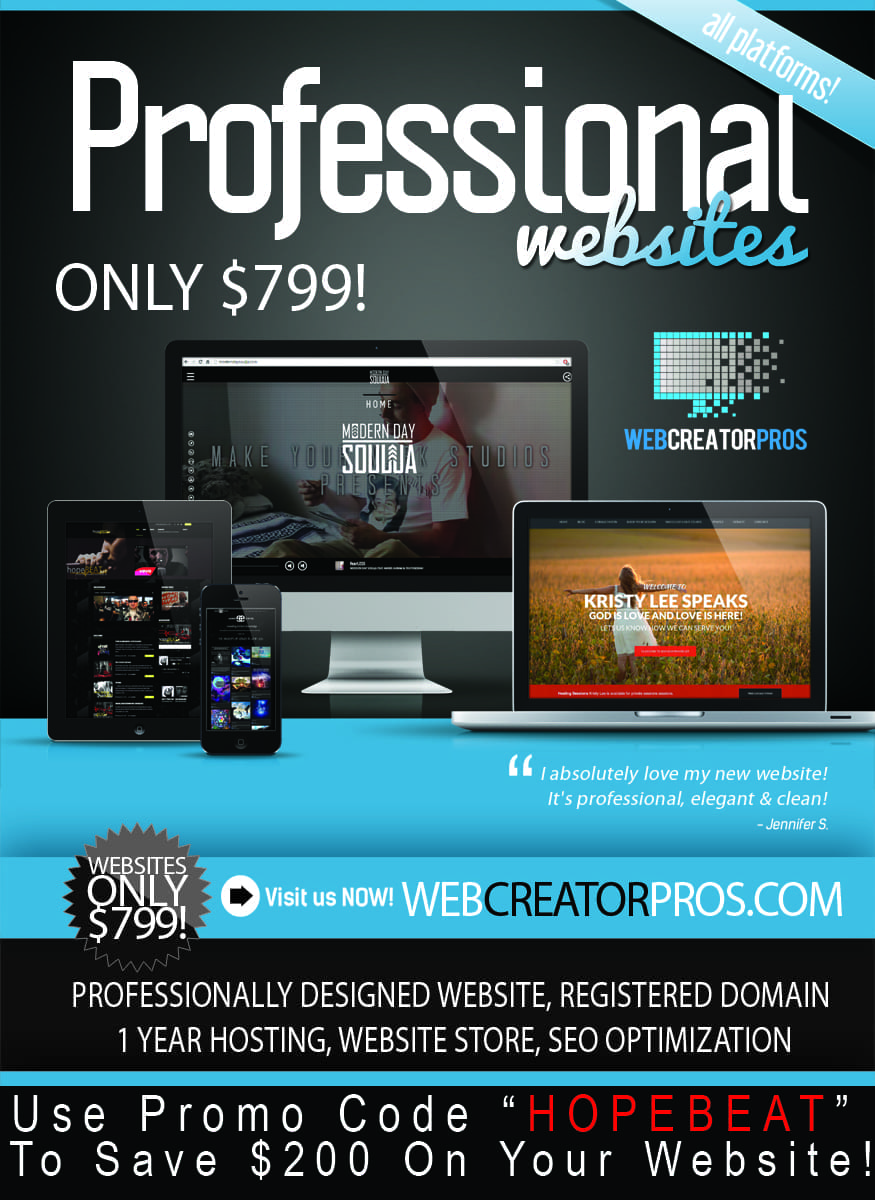 NEED A WEBSITE? SAVE $200 WITH hopeBEAT PROMO CODE!!!!